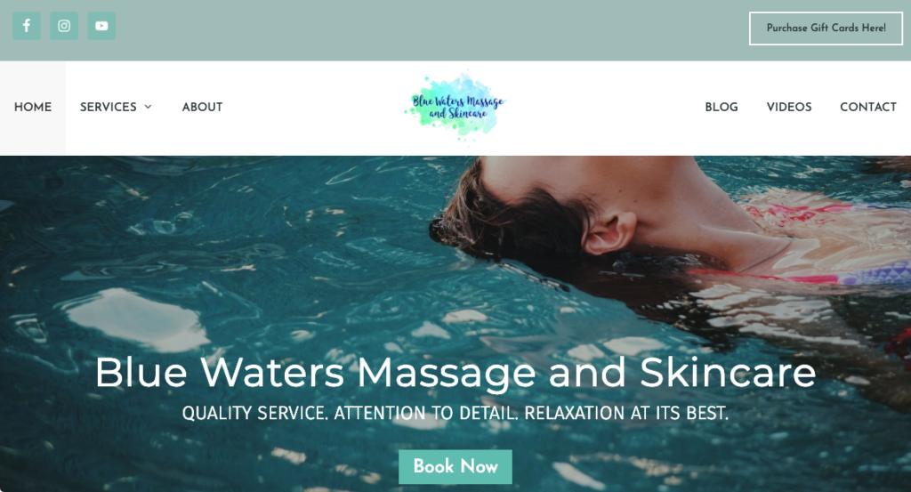 Blue Waters Massage website screenshot