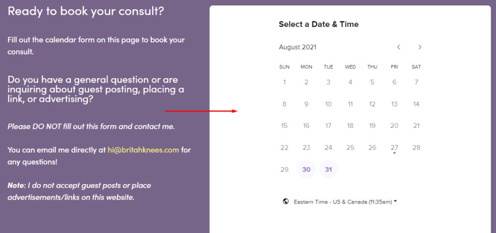 Embedded Calendly Booking Calendar